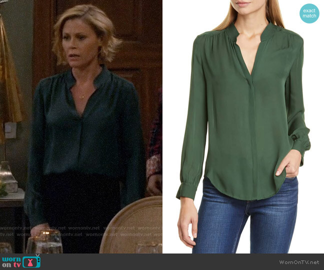 L'Agence Bianca Blouse in Dark Green worn by Claire Dunphy (Julie Bowen) on Modern Family