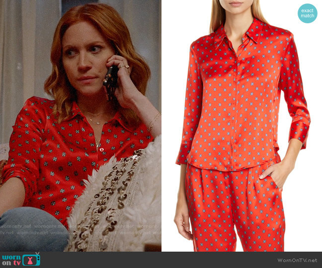 L'Agence Jil Print Silk Satin Blouse worn by Julia Bechley (Brittany Snow) on Almost Family