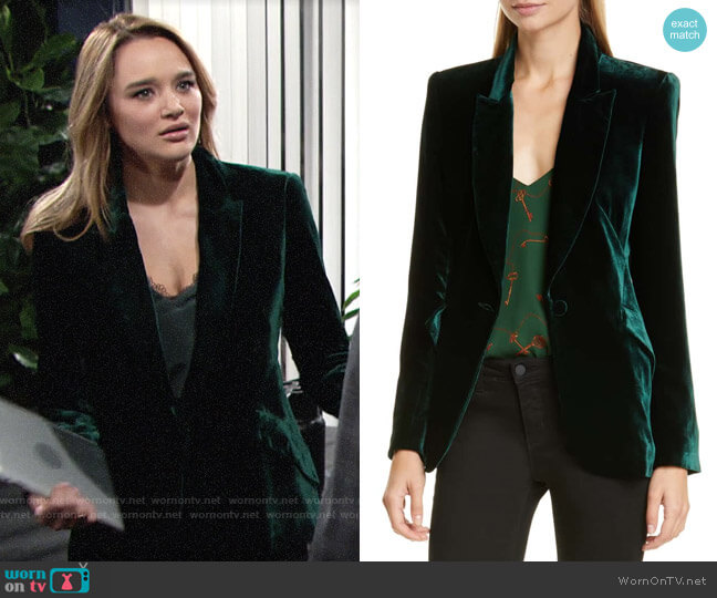 L'Agence Velvet Blazer worn by Summer Newman (Hunter King) on The Young & the Restless