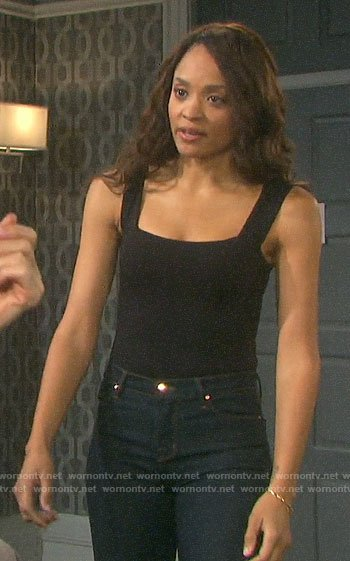 Lani's black square neck bodysuit on Days of our Lives