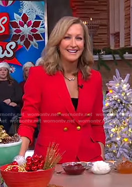 Lara's red blazer with gold buttons on Good Morning America