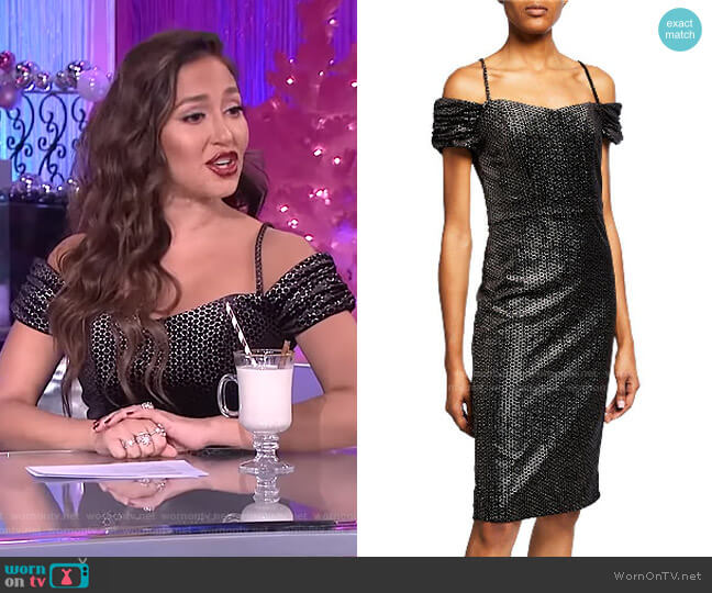 Cold-Shoulder Velvet Dress by Laundry by Shelli Segal worn by Adrienne Houghton  on The Real