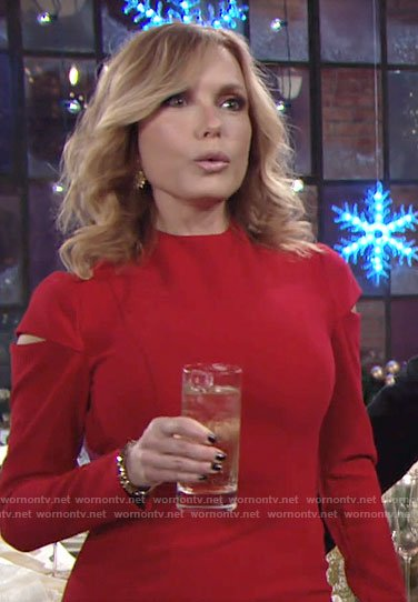 Lauren's red cutout sleeve dress on The Young and the Restless