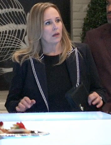 Laura's studded trim blazer on General Hospital