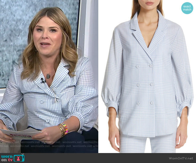 Gingham Tropical Wool Blouse by Lela Rose worn by Jenna Bush Hager  on Today