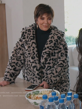 Kris's leopard fur coat on Keeping Up with the Kardashians