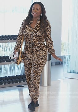 Kandi's leopard zip front jumpsuit on The Real Housewives of Atlanta