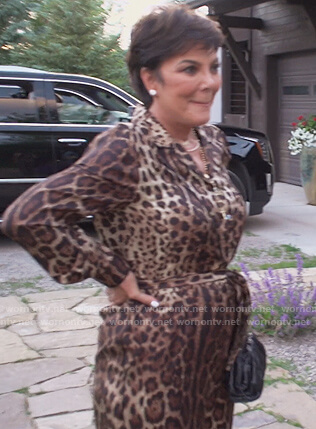 Kris's leopard print jumpsuit on Keeping Up with the Kardashians