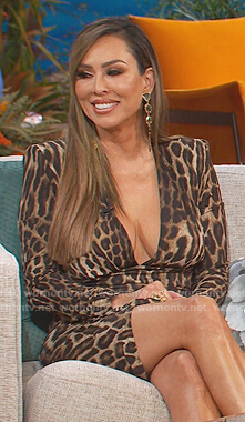 Kelly's leopard plunging mini dress on The Real Housewives of Orange County