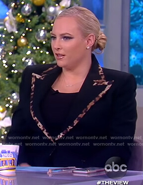 Meghan's black leopard trim blazer on The View