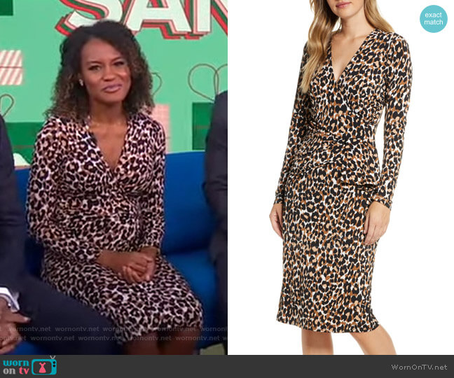Scarlett Faux Wrap Dress by Leota worn by Janai Norman  on Good Morning America