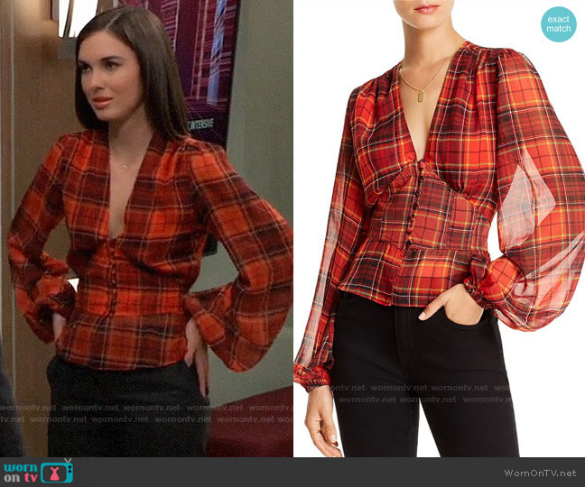 Lini Taylor Balloon-Sleeve Plaid Top worn by Willow Tait (Katelyn MacMullen) on General Hospital