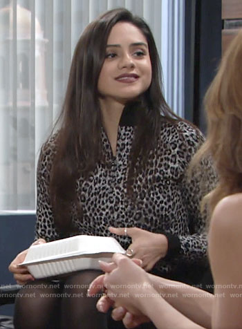 Lola's grey leopard print zip neck sweater on The Young and the Restless