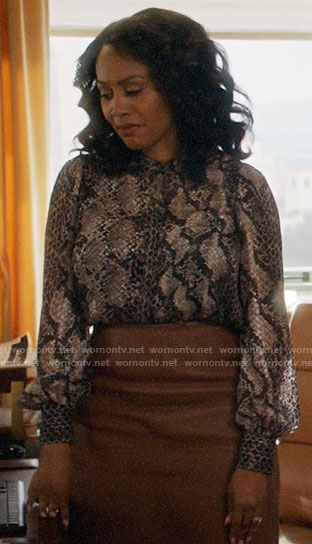 Lola's snake print blouse on All Rise