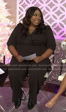 Loni's black embellished wrap jumpsuit on The Real