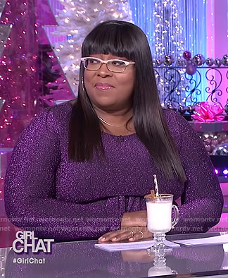 Loni's purple metallic dress on The Real