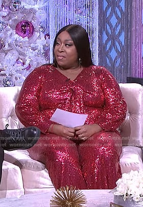 Loni's red sequin tie front jumpsuit on The Real