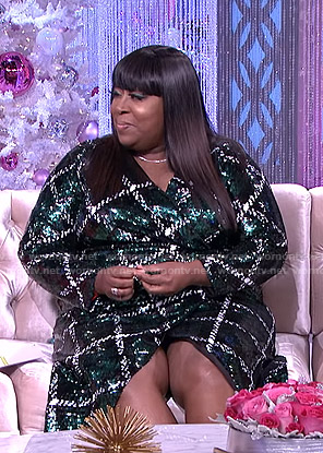 Loni's sequin plaid wrap dress on The Real