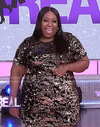 Loni's sequin short sleeve dress on The Real