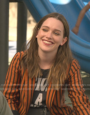 Wornontv Love S Black Graphic Tee And Orange Striped Blazer On You Victoria Pedretti Clothes And Wardrobe From Tv