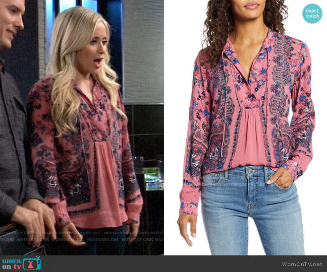 Lucky Brand Paisley & Floral Peasant Top worn by Lulu Spencer Falconeri (Emme Rylan) on General Hospital