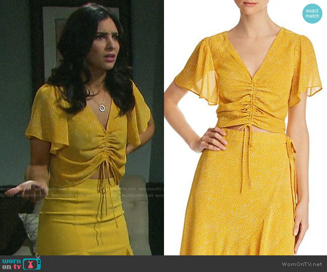 Lucy Paris Haley Ruched Drawstring Cropped Top worn by Gabi Hernandez (Camila Banus) on Days of our Lives