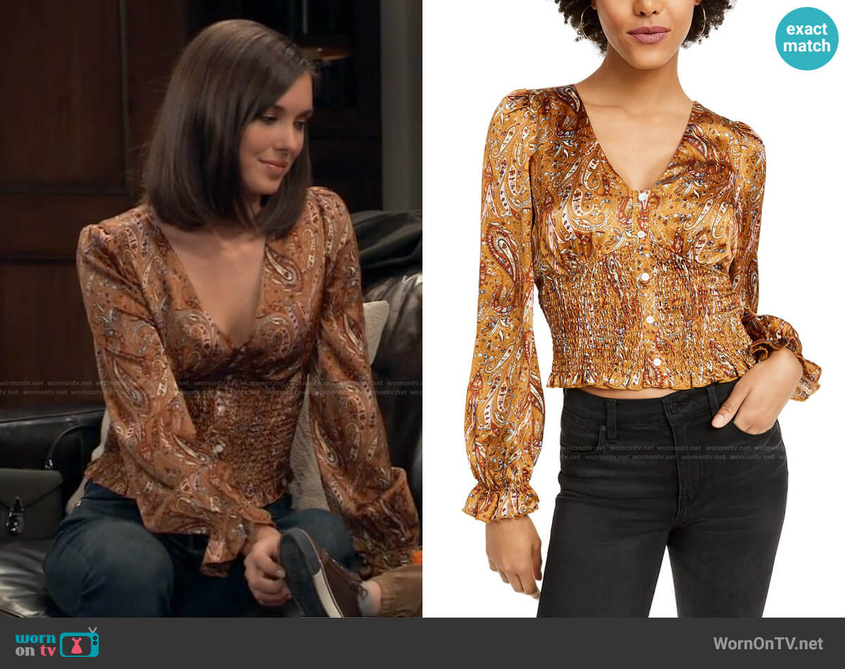 Lucy Paris Paisley Smocked Cropped Top worn by Willow Tait (Katelyn MacMullen) on General Hospital