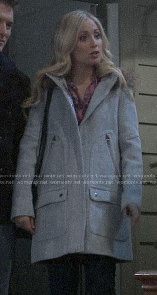 Lulu's grey coat with fur trim hood on General Hospital