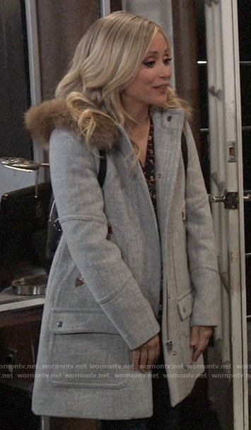 Lulu's grey coat with fur trim hood on General Hospital