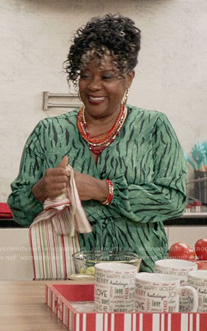 Lynette's green zebra print wrap top on Black-ish