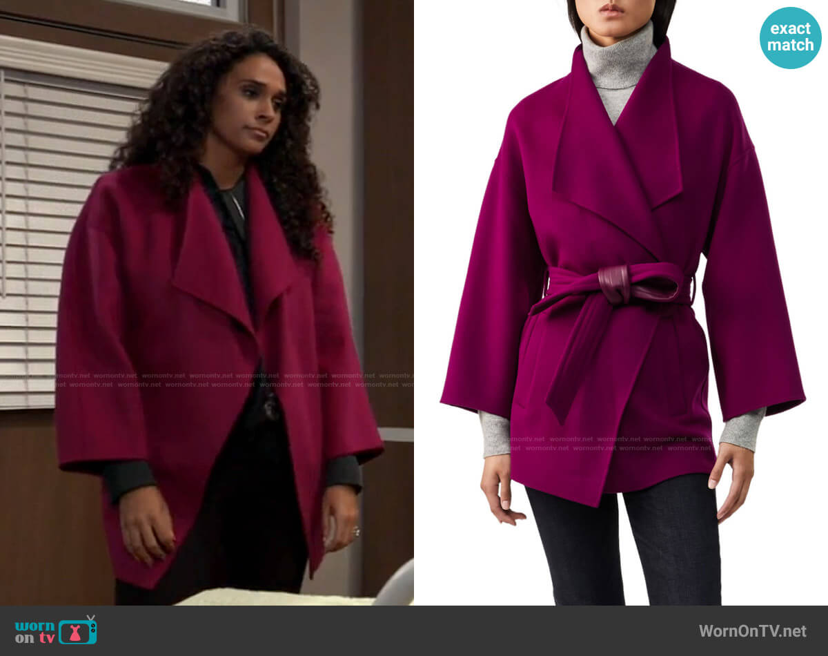 Mackage Gail Coat in Berry worn by Jordan Ashford (Briana Nicole Henry) on General Hospital