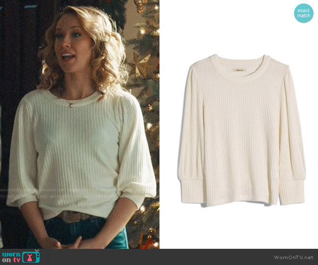 Madewell Brushed Rib Pleat-Sleeve Top worn by Ginny (Anna Camp) on Perfect Harmony