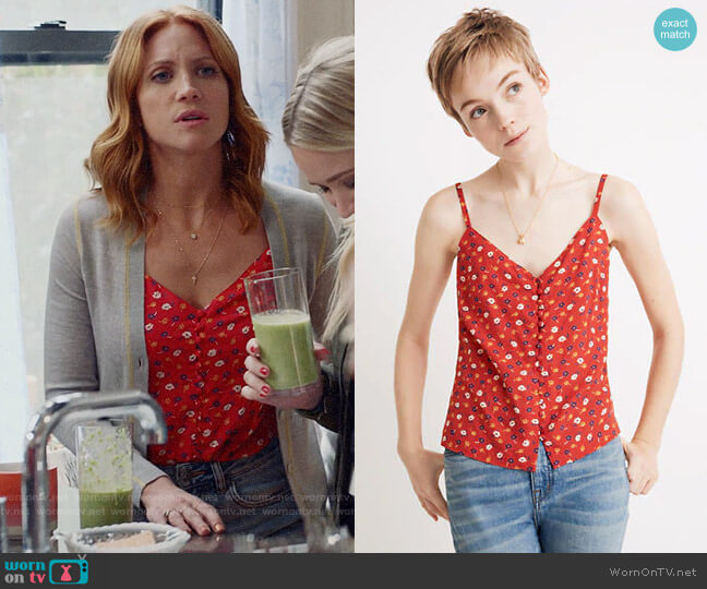 Madewell Button-Down Cami Top in Prairie Posies  worn by Julia Bechley (Brittany Snow) on Almost Family