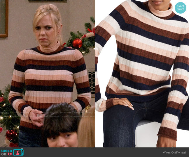 Madewell Evercrest Stripe Mock Neck Sweater worn by Christy Plunkett (Anna Faris) on Mom