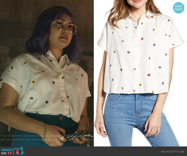 Hilltop Confetti Floral Embroidered Shirt by Madewell worn by Gert Yorkes (Ariela Barer) on Marvels Runaways