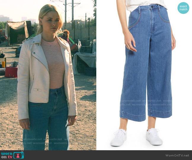 Rainbow Stitched Emmett Wide Leg Crop Jeans by Madewell worn by Karolina Dean (Virginia Gardner) on Marvels Runaways