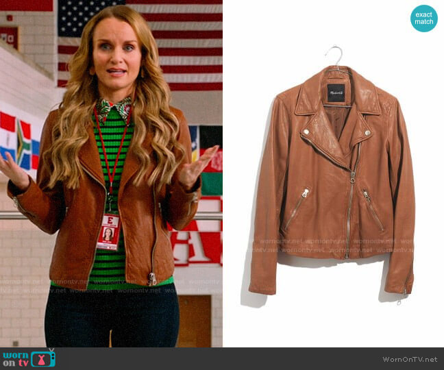 Madewell Washed Leather Moto Jacket in Burnt Sienna worn by Miss Jenn (Kate Reinders) on High School Musical The Musical The Series