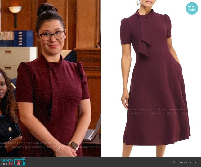 Maggy London Tie Neck A-Line Midi Dress worn by Sherri Kansky (Ruthie Ann Miles) on All Rise
