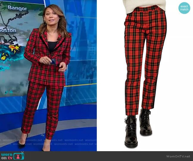 Pantya Plaid Pants by Maje worn by Ginger Zee  on Good Morning America
