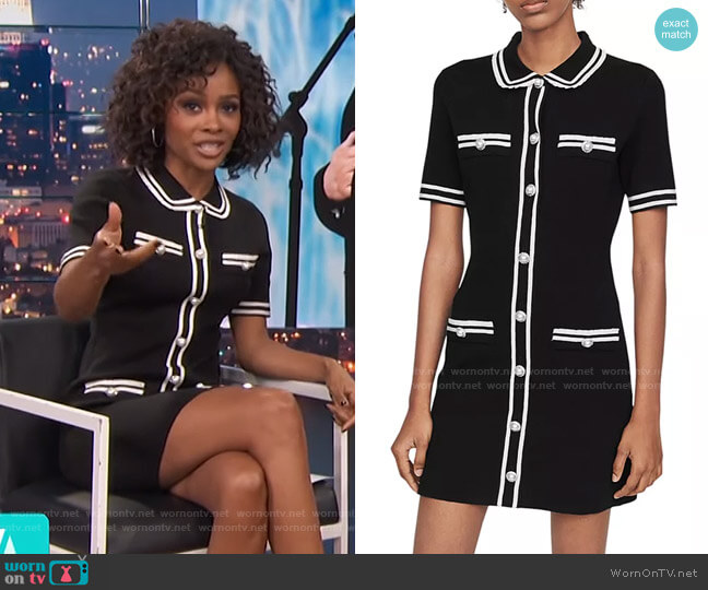 Ravela Tweed Mini Dress by Maje worn by Zuri Hall  on Access Hollywood