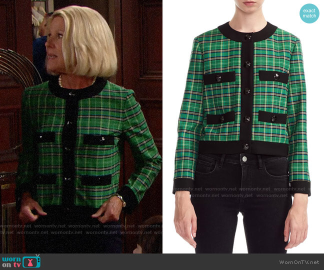 Maje Vivert Plaid Jacket worn by Pamela Douglas (Alley Mills) on The Bold & the Beautiful