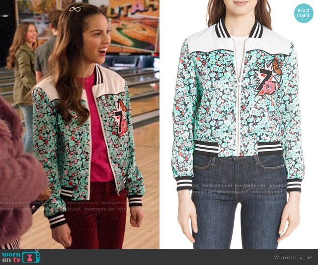 Maje Bert Floral Bomber Jacket worn by Nini (Olivia Rodrigo) on High School Musical The Musical The Series