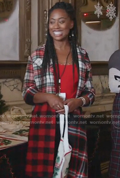 Malika's mixed plaid shirtdress on Good Trouble