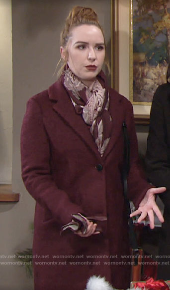 Mariah's dark red coat on The Young and the Restless