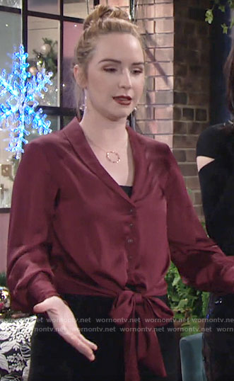 Mariah's red tie front blouse on The Young and the Restless