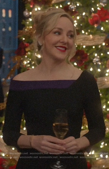 Marissa's black and purple Christmas party dress on Bull