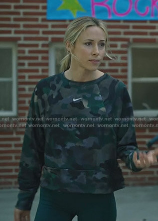 Mary-Jane's Nike camo print top on Stumptown
