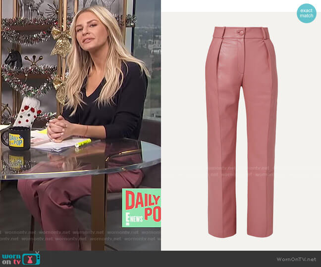 Faux Leather Straight-Leg Pants by Materiel worn by Morgan Stewart  on E! News