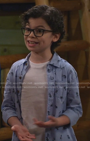 Matteo's blue dinosaur print shirt on Bunkd