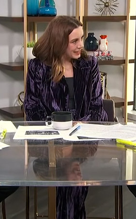 Melanie's purple velvet suit on E! News